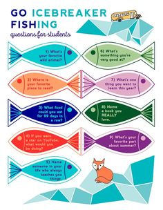 Go Fishing Classroom Icebreakers Printable - Teaching Early Childhood - New education Classroom Icebreakers, Icebreaker Activities, Babysitting Activities, Icebreakers For Kids, Icebreaker Questions, Vocabulary Activities, Preschool Worksheets, Team Bonding Activities, Leadership Activities