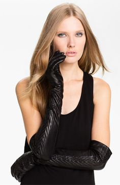 Opera length leather gloves with a herringbone design up the center... Yes, please!