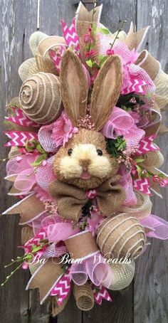 Like the eggs Bunny Wreath Easter Swag Spring Wreath Rustic by BaBamWreaths Easter Wreaths, Holiday Wreaths, Holiday Crafts, Mesh Wreaths, Diy Spring Wreath, Spring Crafts, Wreath Crafts, Diy Wreath, Wreath Ideas