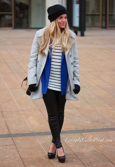 NYFW {Day 1} // Living In Color Print  I love the royal blue under the gray and mixed with black.