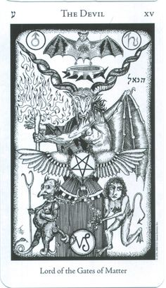 """Devil sits above two naked human demons one male, one female, who are chained to his seat. The Tarot Devil card is derived in part from Eliphas Levi's famous illustration """"Baphomet"""" (1855).  is winged and horned, combining human and bestial features. In the Tarot of Marseilles, the devil is portrayed with facial features in unusual places, According to Waite, the Devil is standing on an altar In his left hand,holds a great flaming torch inverted towards the earth."""