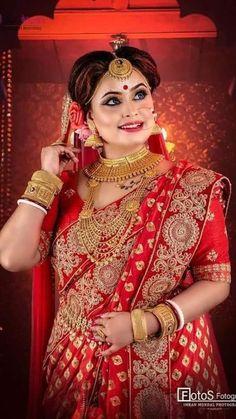 Bengali Bridal Makeup, Sari, Indian, Bride, Hot, Beauty, Fashion, Saree, Wedding Bride