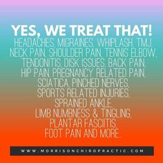 It's amazing all the things that chiropractic can help with!   #yeswetreatthat #chiropractic #chirolife