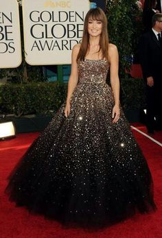 Olivia Wilde; sparkly, grey/charcoal ombre, princess cut