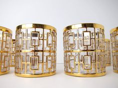 Set of 8 Imperial Glasses.  Shoji Gold by theenchantedfigtree, $300.00