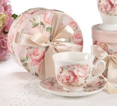 Gift Boxed Tea Cup (Teacup) & Saucer -Rose - Discount Tea Cups - Roses And Teacups