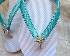 Aqua Blue wedding sandals. Bridal flip by AdrianaSantosBridal