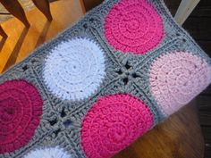 Mod Dot Crochet Girl Blanket Shades of Pink White by LorasLoft, $75.00
