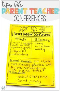 Conference notes are a great way to remind parents about what was discussed at parent teacher conferences. It is also a great tool to use to communicate needs to parents that are unable to go to parent teacher conferences Parent Teacher Conference Forms, Parent Teacher Communication, Parent Teacher Conferences, Teacher Notes, Teacher Stuff, Notes To Parents, Parents As Teachers, Parent Board, Teaching First Grade