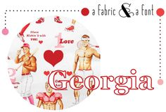 Pin-Ups - The Game of Love by Alexander Henry in Cream & Georgia Game Of Love, Alexander Henry, Love Art, Georgia, Pin Up, Fonts, Entertaining, Cream, Fabric
