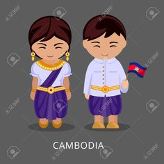 Illustration of Cambodians in national dress with a flag. Man and woman in traditional costume. Travel to Cambodia. vector art, clipart and stock vectors. Songkran Festival, Costumes Around The World, Banner Printing, Flat Illustration, Traditional Outfits, Vector Art, Diy And Crafts, Flag, Clip Art