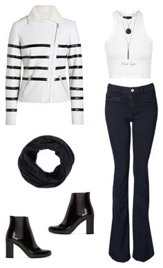 """""""Black or white (or stripes)"""" by liz-lite on Polyvore featuring Witchery, Topshop, Each Other and Yves Saint Laurent"""