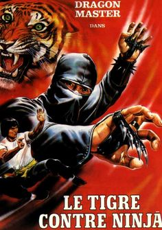 French poster for Tiger vs. Ninja (1982) a/k/a Secret Ninja