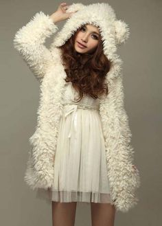 Long Style Bear Hat White Cashmere Warm Coat