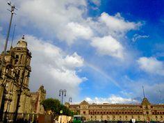 México city, cdmx. Rainbows. Double rainbow. Clouds. Nubes. Arco iris doble. Catedral.