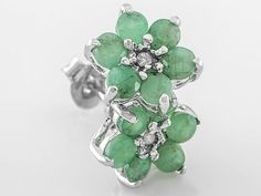 1.34ctw Round Emerald With .02ctw Round Two White Diamond Accents Sterling Silver Earrings