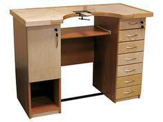This master Goldsmith's workbench is made from high quality materials and is ideal for the jewellers' workshop or for hobbyists at ho. Metal Clay Jewelry, Jewelry Tools, Site Down, Jewellers Bench, Workshop Studio, Crafts To Make, Office Desk, Corner Desk, Jewels