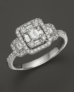 Diamond Emerald-Cut Ring in 14K White Gold, 1.0 ct.tw. | Bloomingdale's