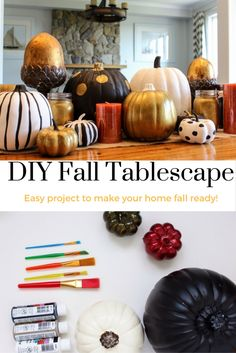 How to make your own fall centrepiece with little cost!  A fun painted pumpkin project to make your  home fall ready!  Perfect for Thanksgiving decor.  #DIY