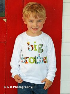 Big Brother Shirt- Great for Family Pics, Pregnancy Announcement, Baby Showers -  You Choose Shirt Color and Sleeve Length. $25.95, via Etsy.
