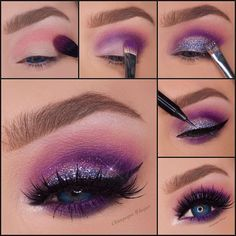 Pictorial of my last look Eyeshadows- Pink shades from contour palette which I applied first Then I added… Purple Smokey Eye, Purple Eye Makeup, Purple Eyeshadow, Makeup Goals, Makeup Inspo, Makeup Inspiration, Highlighter Makeup, Eyeshadow Makeup, Eyeshadows