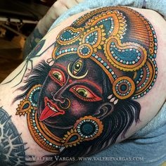 Goddess Kali wearing crown @ Valerie Vargas Tattoo