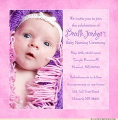 Bright Pink U0026 Purple Single Photo Naming Ceremony Invitation