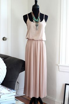 Blush colored pleated mid-length dress - $42.00  #FlipPinWin  Beautiful blush dress...Can be dressed up or down.