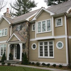 considering mult paint colorswe hope to get rid of the green trim on our house in the next yeardont mind the yellowjust hate the green tr - Exterior Color Design