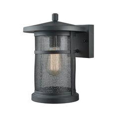 Aspen Lodge Textured Matte Black 8-Inch One-Light Outdoor Wall Lantern