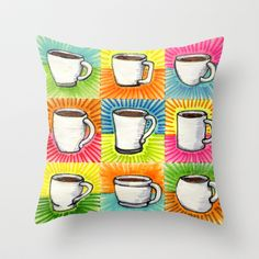 I drew you 9 little mugs of coffee Throw Pillow by Brandon Ortwein - $20.00