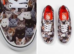 Vans with cats! $40. Portions of the proceeds from this shoe go to the ASPCA. (There are Vans with dogs on them as well.) Yes. Just yes.