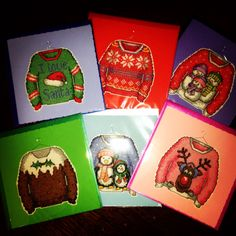 Christmas jumpers handmade cross-stitch cards