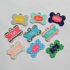 Personalized Pet Tag - Metal Dog Bone Shape - Fun and Colorful - Pick your Pattern & Customize it!