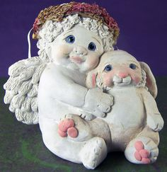 DREAMSICLES CHERUB Figurine BEST BUDDIES with BUNNY by KRISTIN 1995 DC159 MEXICO #Dreamsicles