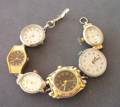 Bracelet made of vintage watches - if your battery runs out in one, there are 5 other watches to tell time by!