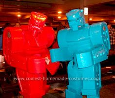 Homemade Rock 'Em Sock 'Em Robots Costume: People love toys, and a life-size toy from your childhood is even better. I came up with the idea of Rock 'Em Sock 'Em Robots costumes because my friend