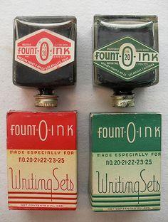 Fount-O-Ink Writing Sets Ink Bottles 1940s Vintage