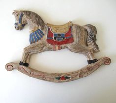 Rocking Horse Wall Hanging, Vintage Wood Horse, Home Decor, Nursery Decor