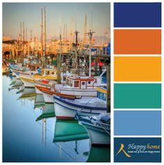 Kleurinspiratie van de woonwinkel Happy Home. St. tropez, Monaco de Cote D´Azur.. Een prachtige plek vol inspiratie met de meest geweldige kleuren. In de haven zijn veel blauw, geel en groen tinten te vinden.  www.happy-home.nl