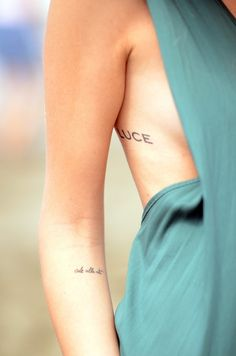 "Chiara Ferragni's tattoos (theblondesalad) - Love both placements and meanings! (""luce"" means ""light"", while ""ode alla vita"" means ""ode to life"", in italian)"