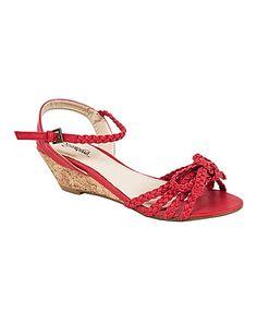 Strawberry Interwoven Wedge Sandals