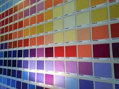 Pantone fan Michael Kovach added some color to his bedroom with Pantone paint chips from Lowes! We love seeing how color inspires our fans. This is the close-up shot of the bedroom wall.
