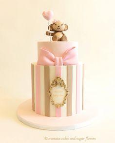 Monkey pink baby shower cake