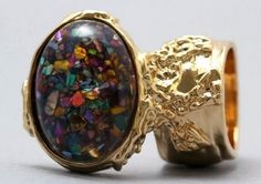 Arty Oval Ring Multi Color Mosaic Shell Gold Artsy Designer Chunky Knuckle Art Statement Size 8.5 @modtoast