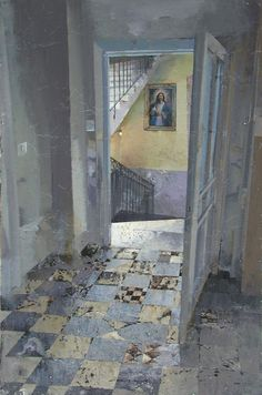 Matteo Massagrande, Interno, 2010, tecnica mista su tavola, 60 x 40 cm #contemporary #art #painting