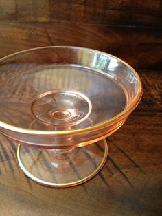 Pink Depression Glass Cheese Compote with Gold Trim  Vintage