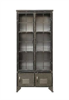 DETAILS The old school locker look goes trendy with this all metal, distressed black cabinet. Two tall doors open onto see through shelving while two vented
