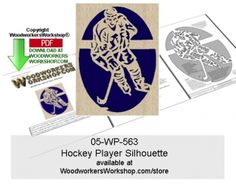 05-WP-563 - Hockey Player Silhouette Downloadable Scrollsawing Pattern PDF Careful not to go offside, the players are lined up to make the game winning goal! This scroll saw silhouette pattern is a good woodworking plan for beginners to practice cutting tight spots and quick turns. Create a plaque silhouette like you see here or incorporate into a project like a lid on a box or a panel on a door.