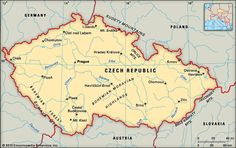 This is a photo of the Czech Republic and the neighboring countries around the borders.  The Czech Republic is 30,450 square miles and has a protective mountain range called the Bohemian Massif.  There is also a famous river that runs through Czech Republic called the Vltava River, which is quite popular for transportation and trade in the country.